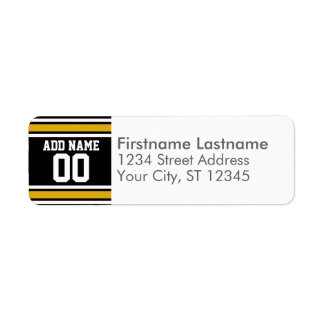 Black Gold Football Jersey Custom Name Number Label