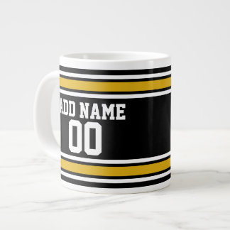 Black Gold Football Jersey Custom Name Number Large Coffee Mug