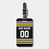 Black Gold Football Jersey Custom Name Number Luggage Tag