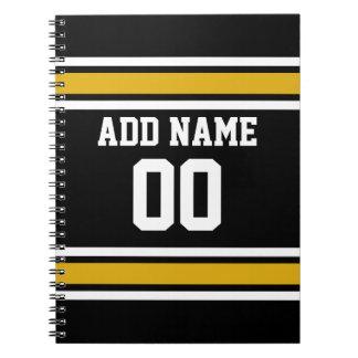 Black Gold Football Jersey Custom Name Number Notebook