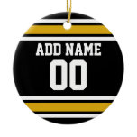 Black Gold Football Jersey Custom Name Number Ornaments