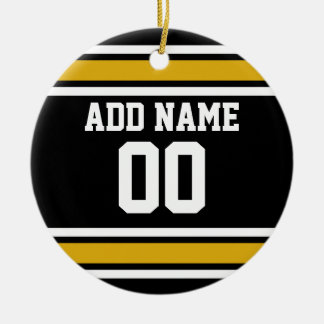 Black Gold Football Jersey Custom Name Number Double-Sided Ceramic Round Christmas Ornament