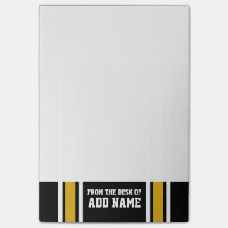 Black Gold Football Jersey Custom Name Number Post-it Notes