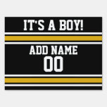 Black Gold Football Jersey Custom Name Number Sign