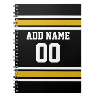 Black Gold Football Jersey Custom Name Number Spiral Notebook