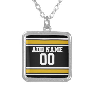 Black Gold Football Jersey Custom Name Number Square Pendant Necklace