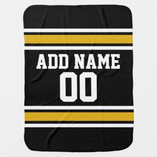 Black Gold Football Jersey Custom Name Number Stroller Blanket