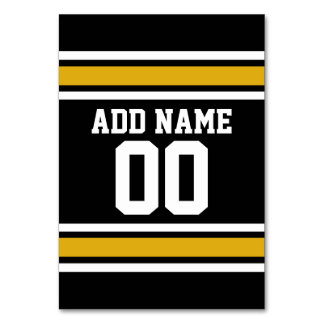Black Gold Football Jersey Custom Name Number Table Cards