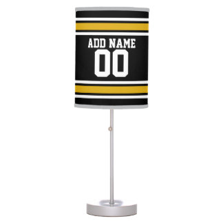 Black Gold Football Jersey Custom Name Number Table Lamp