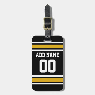 Black Gold Football Jersey Custom Name Number Tag For Luggage