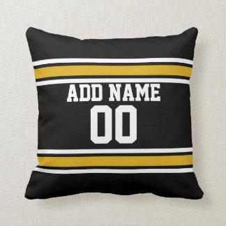 Black Gold Football Jersey Custom Name Number Throw Pillow