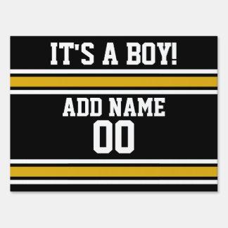 Black Gold Football Jersey Custom Name Number Yard Sign