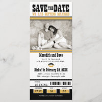 Black Gold Football Ticket Wedding Save the Date