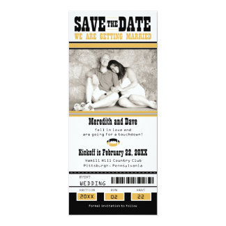 Black Gold Football Ticket Wedding Save the Date Card