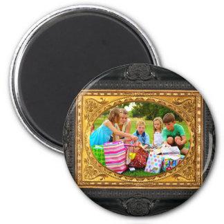 Black & Gold Frame - Add Your Photo! Refrigerator Magnet