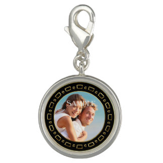 Black Gold Frame Sweetheart Photo Template Charms