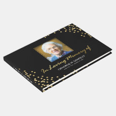Black Gold Funeral Condolence | Photo Memorial Guest Book