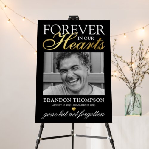 Black Gold Funeral Photo Memorial Foam Board