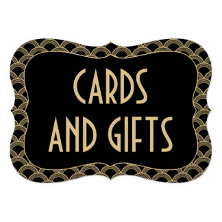 Black & Gold Gatsby Wedding Cards & Gifts Sign