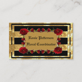 Black Gold Gem Roses Business Card
