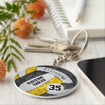 """black gold girls&#39; volleyball keychain w team name<br><div class=""""desc"""">This personalized girls&#39; volleyball keychain with team name features a floral kaleidoscopic pattern blended with the black and gold volleyball panels and an artsy abstract swirl pattern blended with the white panels - her name and team name are customizable, as is her jersey number on a tiny white volleyball -...</div>"""