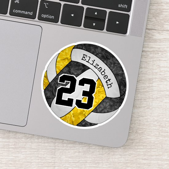 black gold girls volleyball w player name number sticker
