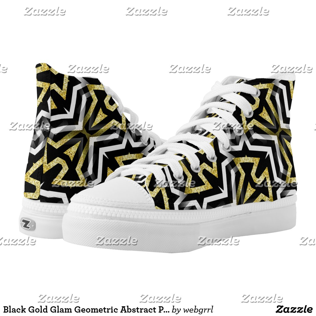Black Gold Glam Geometric Abstract Pattern HT1 High-Top Sneakers by webgrrl