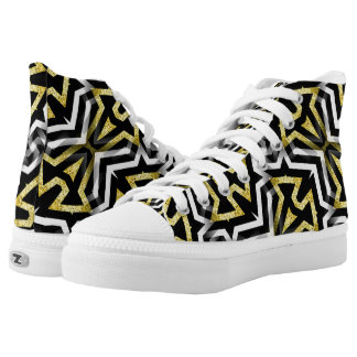Black Gold Glam Geometric Abstract Pattern HT1 High-Top Sneakers