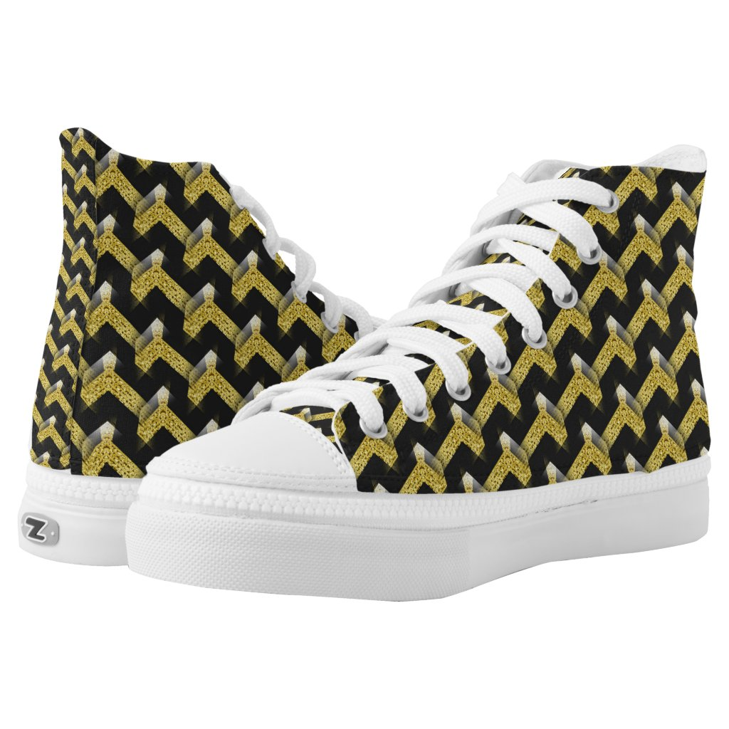 Black Gold Glam Geometric Abstract Pattern HT2 High-Top Sneakers by webgrrl