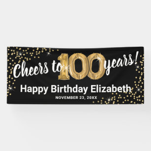 Indoor Outdoor Backdrop 9.8 x 1.6 Feet Black Happy 100th Birthday Large Banner 100th Birthday Party Porch Sign 100 Never Looked So Good