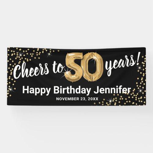 Black Gold Glitter 50th Birthday Banner