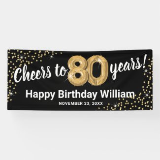 Black Gold Glitter 80th Birthday Banner