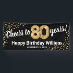 """Black Gold Glitter 80th Birthday Banner<br><div class=""""desc"""">Elegant eightieth birthday party banner featuring a stylish black background that can be changed to any color,  gold sparkly glitter,  eighty gold hellium balloons,  and a modern 80th birthday celebration text template that is easy to personalize.</div>"""