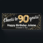 "Black Gold Glitter 90th Birthday Banner<br><div class=""desc"">Elegant ninetieth birthday party banner featuring a stylish black background that can be changed to any color,  gold sparkly glitter,  ninty gold hellium balloons,  and a modern 90th birthday celebration text template that is easy to personalize.</div>"