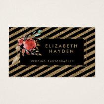 black gold glitter aqua coral Floral business card