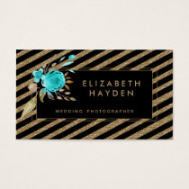 black gold glitter aqua Floral business card