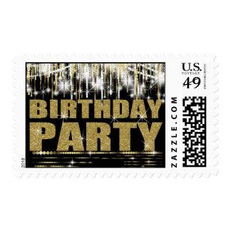 Black Gold Glitter Birthday Party Postage
