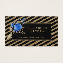 black gold glitter blue Floral business card