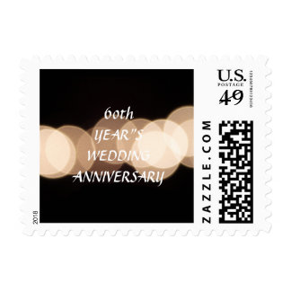 Black Gold Glitter Bokeh Wedding Anniversary Postage