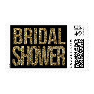 Black & Gold Glitter Bridal Shower Postage Stamp
