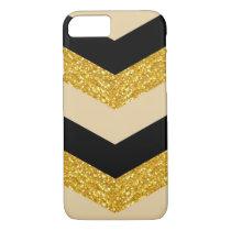 Black Gold Glitter Chevron iPhone 7 Case