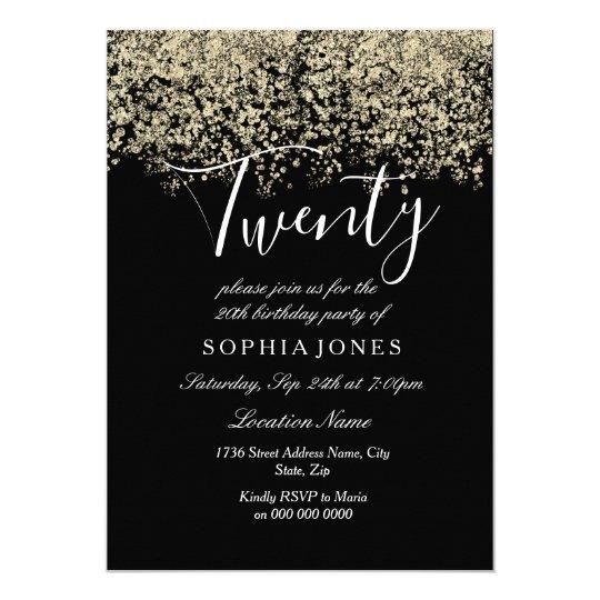 black gold glitter confetti 20th birthday party invitation zazzle com