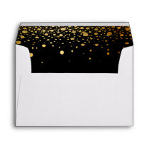 Black Gold Glitter Confetti Dots for 5x7 Invite Envelope