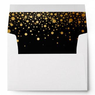 Black Gold Glitter Confetti Dots for 5x7 Invite Envelope
