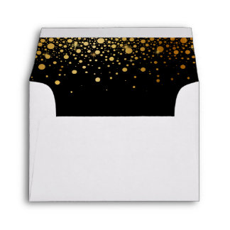 Black Gold Glitter Confetti Dots for RSVP Reply Envelope