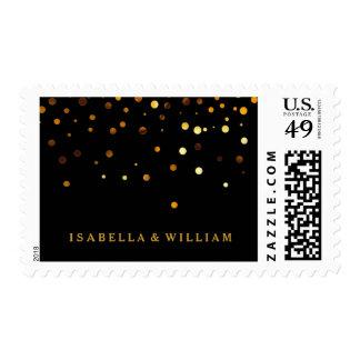 Black Gold Glitter Confetti Faux Foil Postage