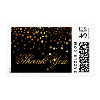 Black Gold Glitter Confetti Faux Foil Thank You Postage