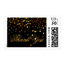 Black Gold Glitter Confetti Faux Foil Thank You Postage