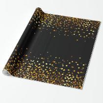 Black Gold Glitter Confetti Faux Foil Wrapping Paper