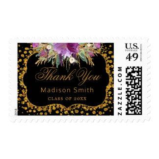 Black Gold Glitter Confetti Graduation Thank You Postage